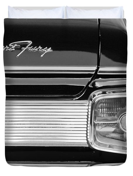 1963 Plymouth Sport Fury Taillight Emblem Duvet Cover by Jill Reger