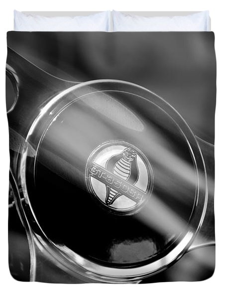1965 Ford Mustang Cobra Emblem Steering Wheel Duvet Cover by Jill Reger