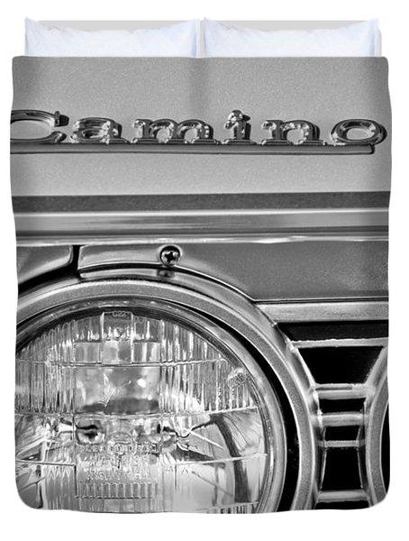 1967 Chevrolet El Camino Pickup Truck Headlight Emblem Duvet Cover by Jill Reger