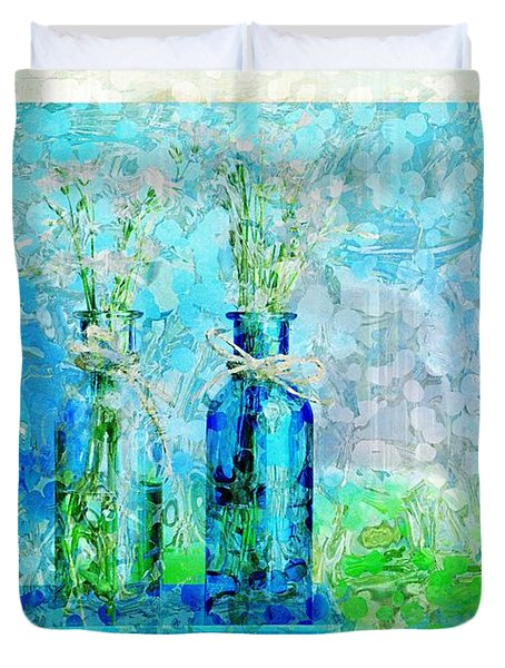 1-2-3 Bottles - S13ast Duvet Cover by Variance Collections