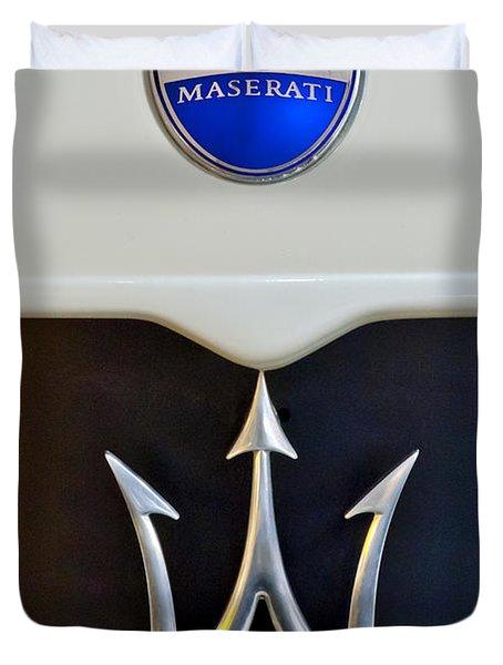 2005 Maserati Mc12 Hood Emblem Duvet Cover by Jill Reger