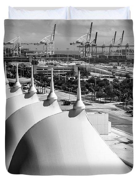 Port Of Miami Cruise Ship Terminal Miami Florida Duvet Cover by Rene Triay Photography