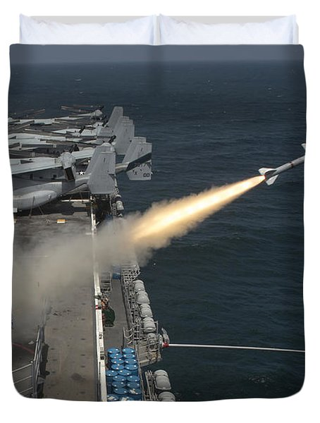 A Rim-7 Sea Sparrow Missile Is Launched Duvet Cover by Stocktrek Images
