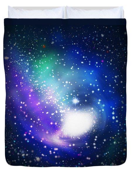 Abstract Galaxy Duvet Cover by Atiketta Sangasaeng