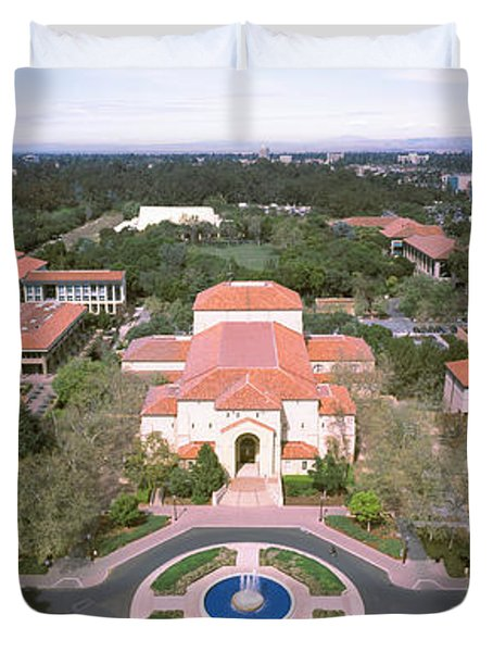 Aerial View Of Stanford University Duvet Cover by Panoramic Images