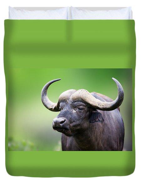 African Buffalo Portrait Duvet Cover by Johan Swanepoel
