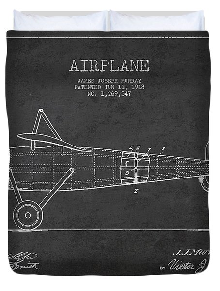 Airplane Patent Drawing From 1918 Duvet Cover by Aged Pixel