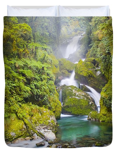 Amazing Waterfall Duvet Cover by Tim Hester