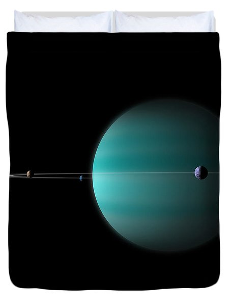 Artists Depiction Of A Ringed Gas Giant Duvet Cover by Marc Ward