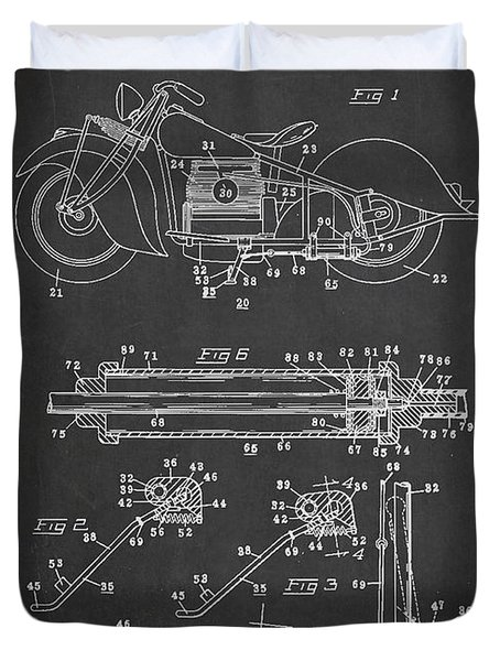 Automatic Motorcycle Stand Retractor Patent Drawing From 1940 Duvet Cover by Aged Pixel
