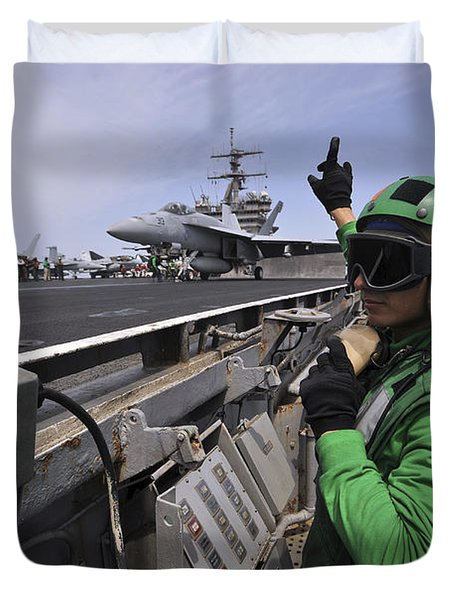 Aviation Boatswain's Mate Signals Duvet Cover by Stocktrek Images