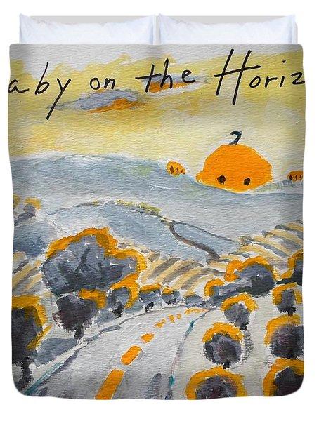 Baby On The Horizon Duvet Cover by Margaret  Plumb