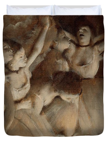 Ballet Rehearsal On Stage Duvet Cover by Edgar Degas