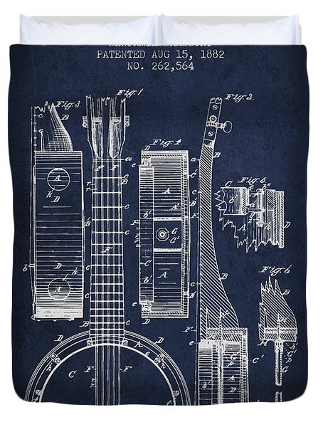 Banjo patent Drawing from 1882 - Blue Duvet Cover by Aged Pixel