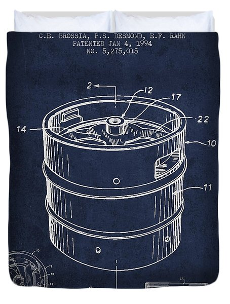 Beer Keg Patent Drawing - Green Duvet Cover by Aged Pixel