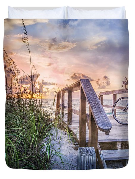 Bicycle at the Beach Duvet Cover by Debra and Dave Vanderlaan