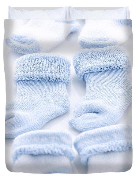 Blue baby socks Duvet Cover by Elena Elisseeva