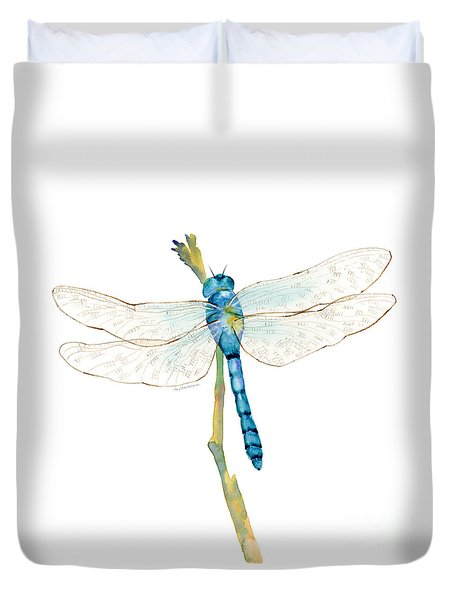 Blue Dragonfly Duvet Cover by Amy Kirkpatrick
