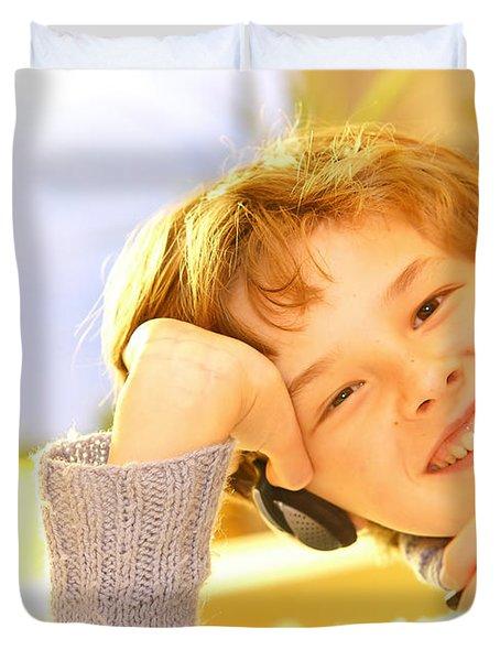 Boy Listen To Music Duvet Cover by Michal Bednarek