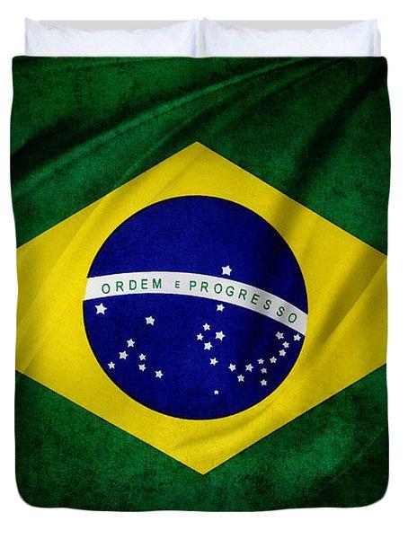 Brazilian flag Duvet Cover by Les Cunliffe