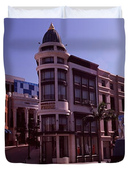 Buildings Along The Road, Rodeo Drive Duvet Cover by Panoramic Images