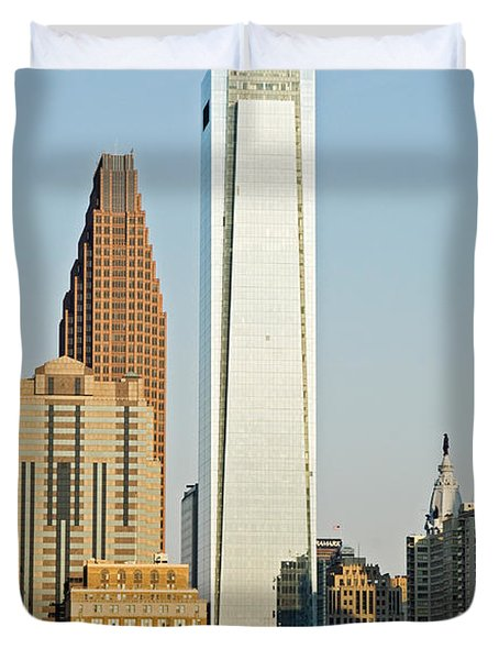 Buildings In A City, Comcast Center Duvet Cover by Panoramic Images
