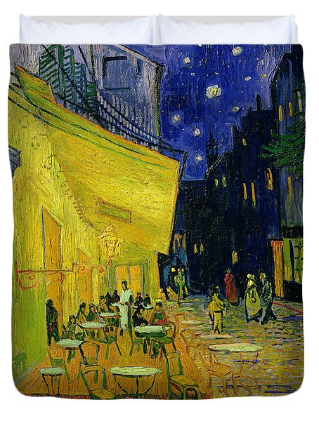 Cafe Terrace Arles Duvet Cover by Vincent van Gogh