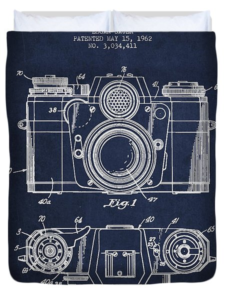 Camera Patent Drawing From 1962 Duvet Cover by Aged Pixel