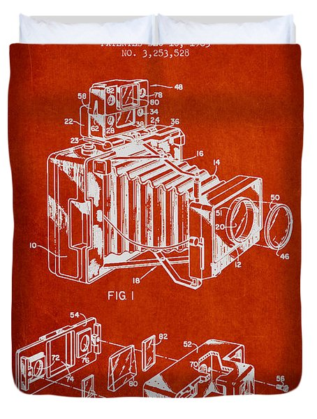 Camera Patent Drawing From 1963 Duvet Cover by Aged Pixel