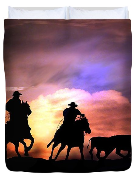 Cattle Drive Duvet Cover by Stephanie Laird