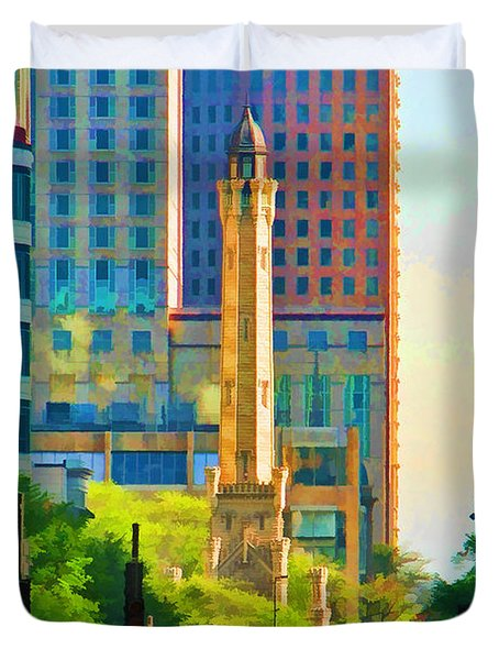 Chicago Water Tower Beacon Duvet Cover by Christopher Arndt