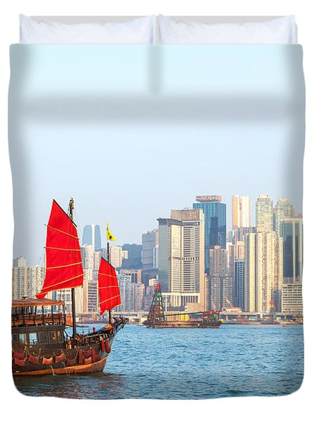 Chinese Junk Boat Sailing In Hong Kong Harbor Duvet Cover by Matteo Colombo