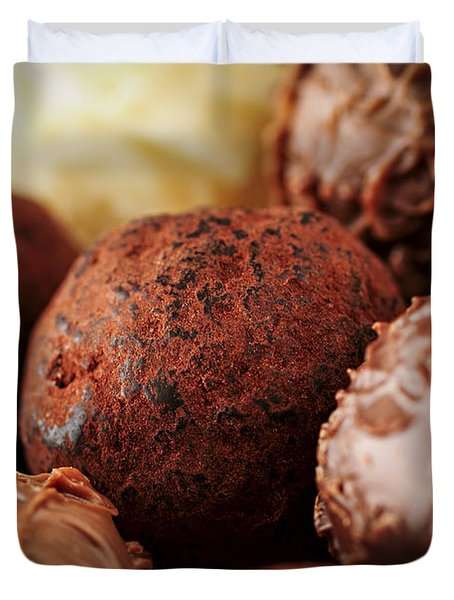 Chocolate truffles Duvet Cover by Elena Elisseeva