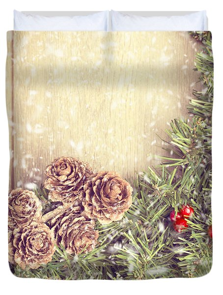 Christmas Garland Duvet Cover by Amanda And Christopher Elwell
