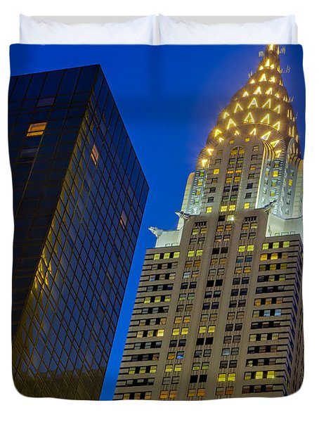 Chrysler Building Twilight Duvet Cover by Susan Candelario