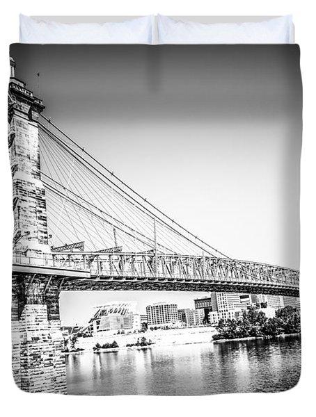 Cincinnati Roebling Bridge Black And White Picture Duvet Cover by Paul Velgos