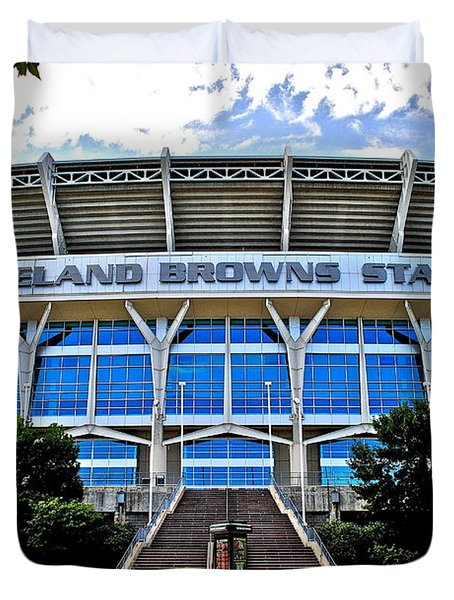 Cleveland Browns Stadium Duvet Cover by Frozen in Time Fine Art Photography