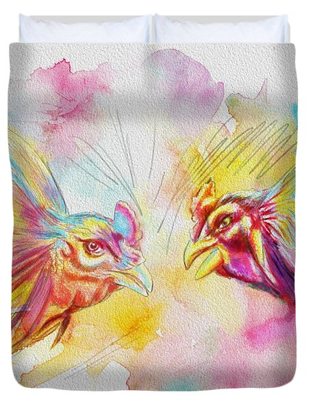 Cock fighting Duvet Cover by Catf