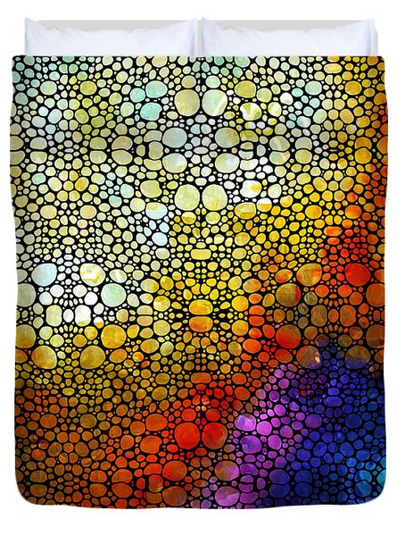 Colorful Stone Rock'd Abstract Art By Sharon Cummings Duvet Cover by Sharon Cummings