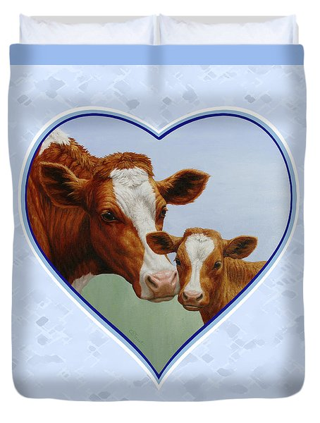 Cow And Calf Blue Heart Duvet Cover by Crista Forest