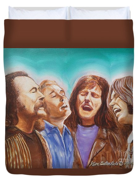 Crosby Stills Nash And Young Duvet Cover by Kean Butterfield