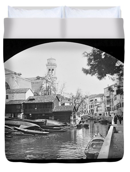 Duvet Cover featuring the photograph Pegnitz River Nuremberg Germany 1903 by A Gurmankin