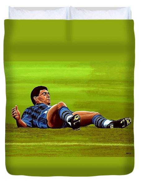 Diego Maradona Duvet Cover by Paul Meijering