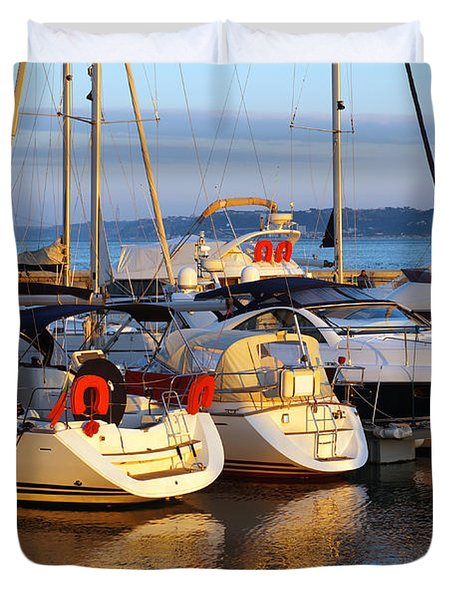 Docked Yachts Duvet Cover by Carlos Caetano