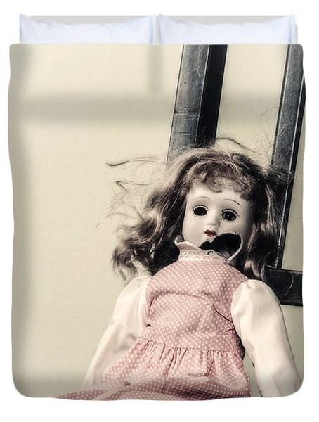 Doll With Tea Cup Duvet Cover by Joana Kruse
