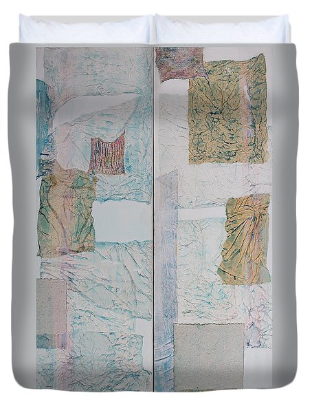 Double Doors Of Unfinished Projects In Blue  Duvet Cover by Asha Carolyn Young