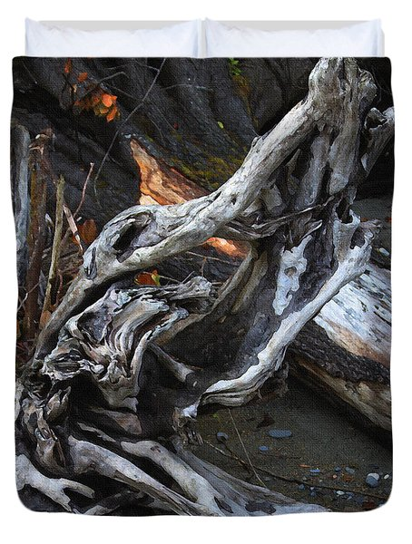 Driftwood On The Beach Duvet Cover by Tom Janca