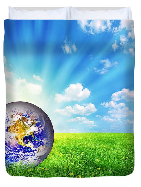 Earth Globe On Green Grass Duvet Cover by Michal Bednarek