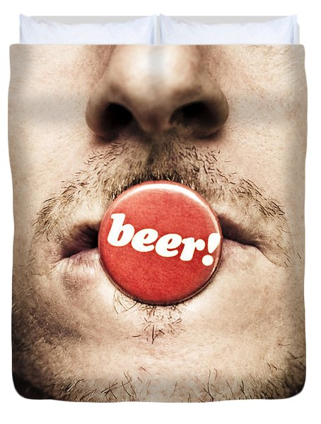 Face Of A Man With Beer Badge Duvet Cover by Jorgo Photography - Wall Art Gallery