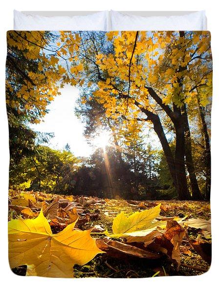 Fall Autumn Park. Falling Leaves Duvet Cover by Michal Bednarek